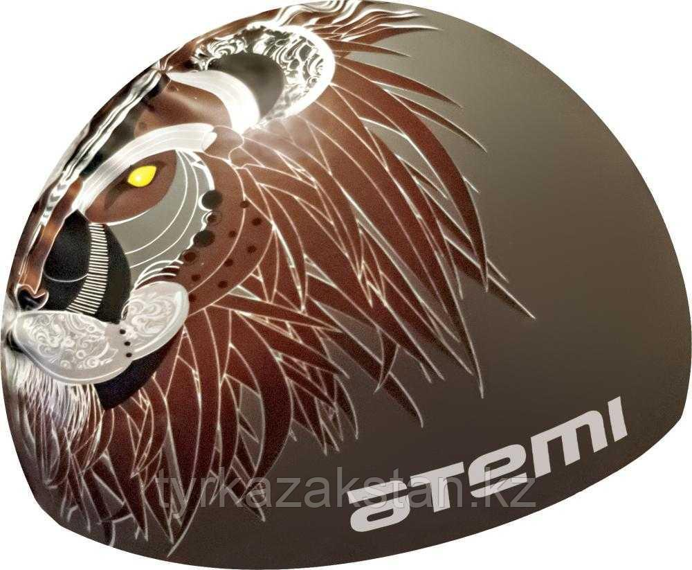 Шапочка для плавания Atemi, силикон, серая (лев), PSC425