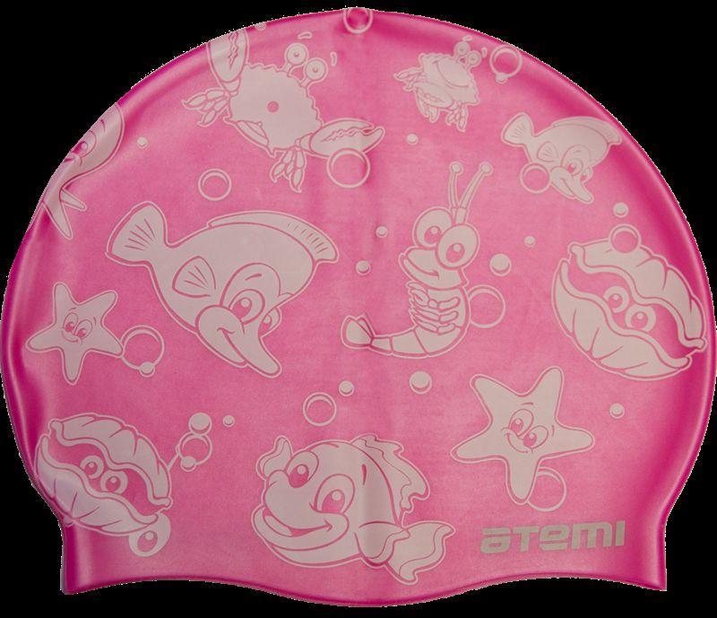 Шапочка для плавания Atemi, силикон, розовая (морская фауна), дет., PSC309