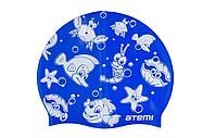 Шапочка для плавания Atemi, силикон, синяя (морская фауна), дет., PSC309