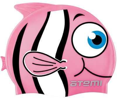 Шапочка для плавания Атеми, силикон (дет.), рыбка+, розовая, FC104