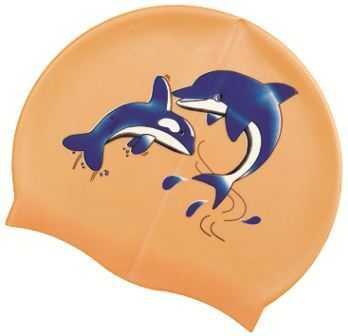 Шапочка для плавания Atemi, силикон, оранжевая (дельфины), PSC401