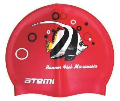 Шапочка для плавания Atemi, силикон (рыбка), PSC404