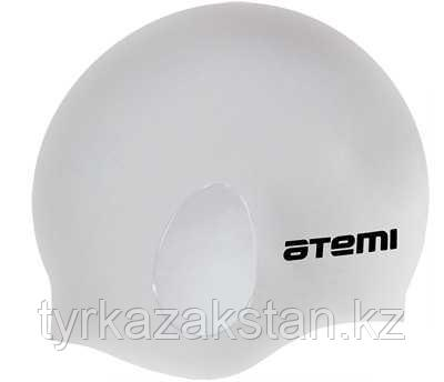 "Шапочка для плавания Atemi, силикон (c ""ушами""), серебро, EC103"