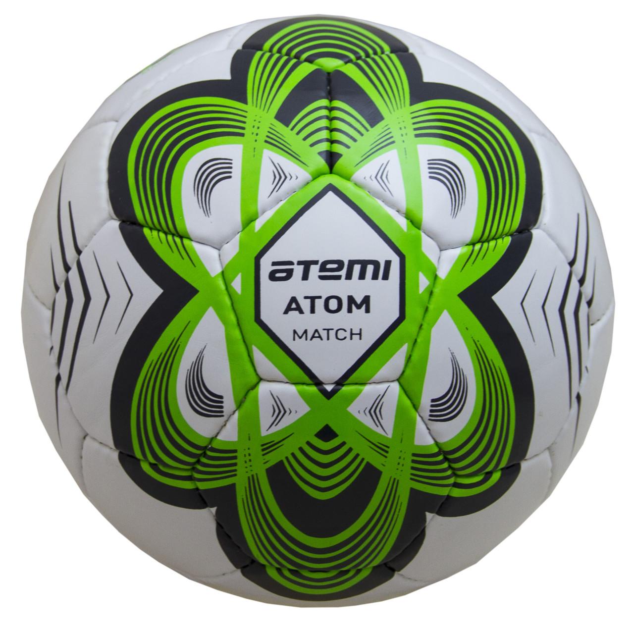 Мяч футбольный Atemi ATOM, PU, зеленый, р.5