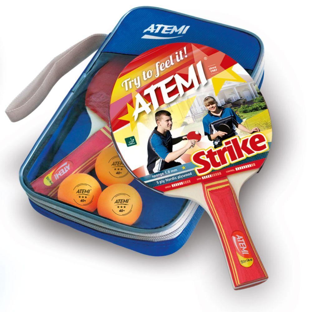 Набор для настольного тенниса Atemi STRIKE (2ракетки+чехол+3 мяча***)