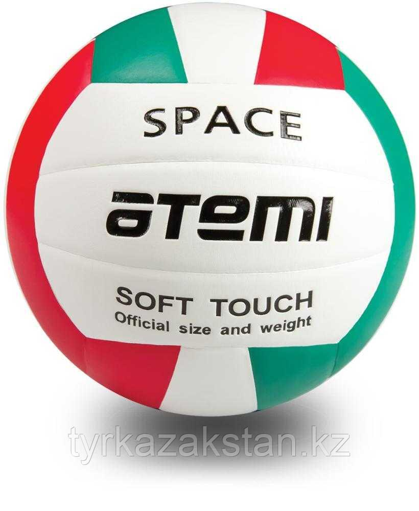 Мяч волейбольный Atemi SPACE, синтетическая кожа PU Soft, зел/бел/красн