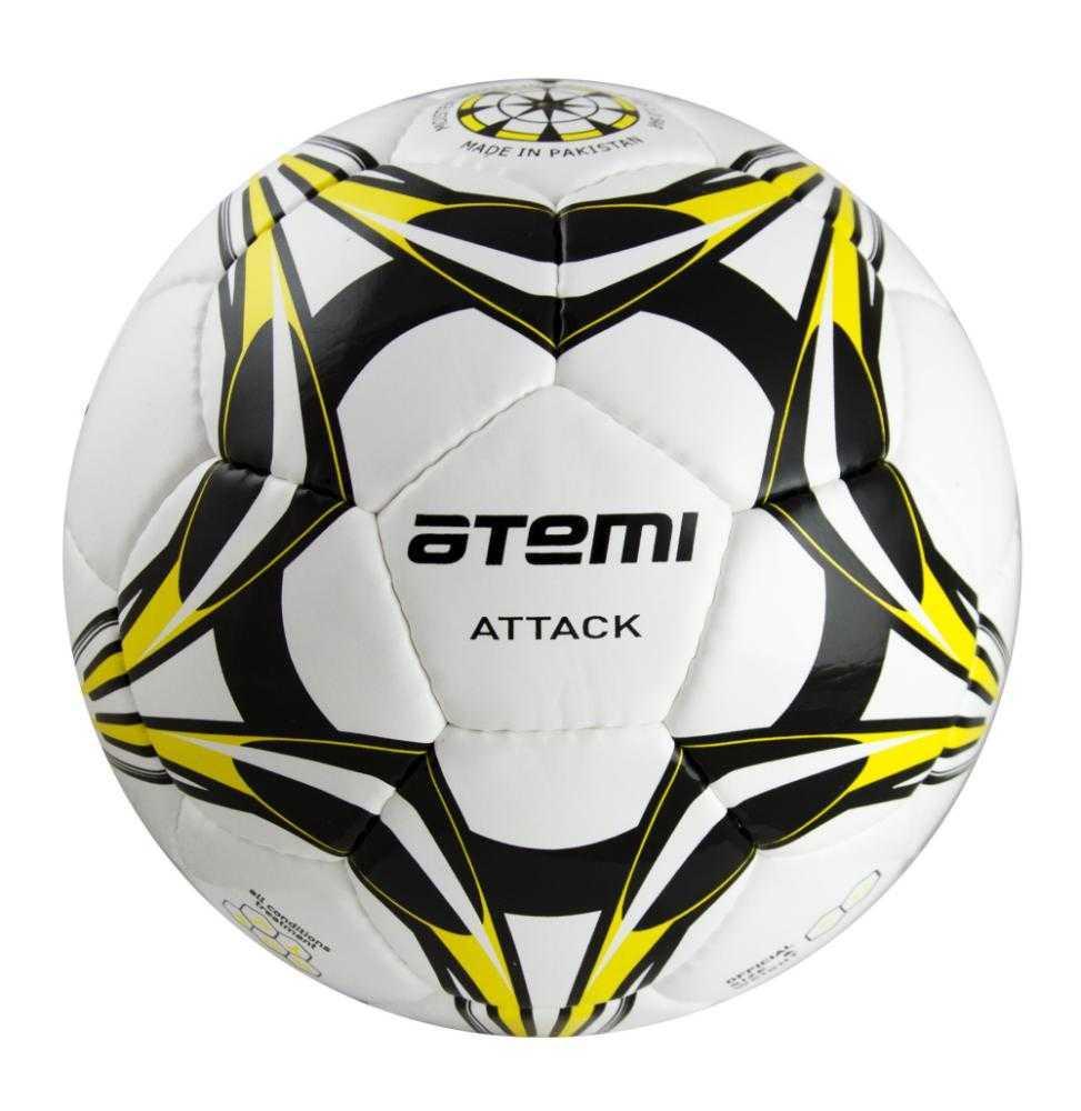 Мяч футбольный Atemi ATTACK, PU, бел/чёрн/жёлт, р.5