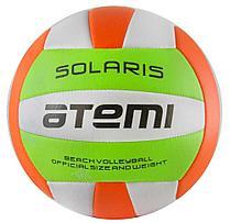 Мяч волейбольный Atemi SOLARIS, синтетическая кожа PVC foam, 18 п., зел/бел/оранж, м/ш