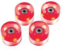 Набор колес для миниборда цвет красный с подсветкой (подшипник ABEC-5), AW-18.02