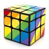 Кубик  зеркальный 3х3х3 Moyu Youngjun Inequilaterial радуга черн и син, фото 5