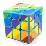 Кубик  зеркальный 3х3х3 Moyu Youngjun Inequilaterial радуга черн и син, фото 3