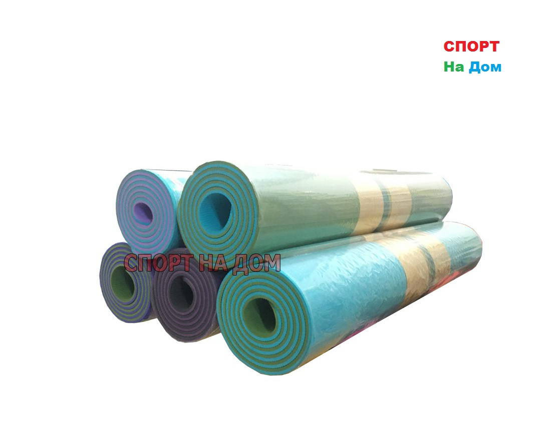 Йога коврик нескользящий фиолетово-серый (размеры: 180*80*0,8 см)