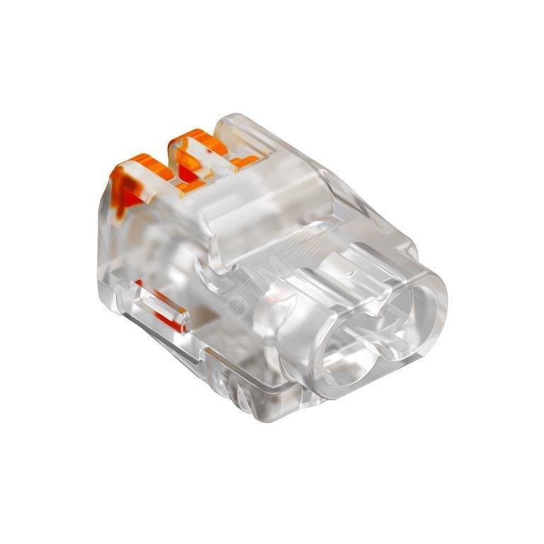 Клемма ОВО универсальная пружинная с зажимом 2*2,5мм2, прозрачная /2054450/