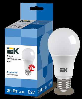 Лампа LED ALFA A60 шар 20Вт 230В 6500К E27 IEK