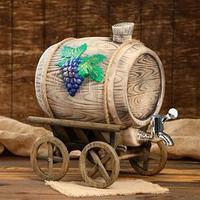 Бочка для вина 'Виноград' на телеге, 7,5 л