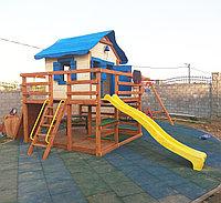 """Игровой комплекс """"Лоут"""", крыша из дерева, скалодром, песочница, качели, домик, фото 1"""