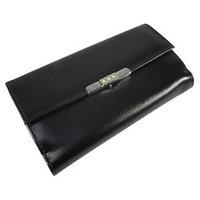 Портмоне женское, 2 отдела для купюр, для монет, для кредитных карт, цвет чёрный