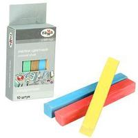 Мелки для рисования 'Гамма', цветные, 10 штук, мягкие, квадратная форма, картонная коробка