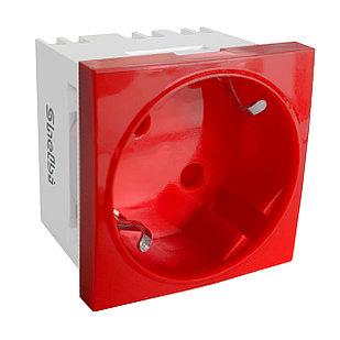 Shelbi Розетка одинарная 33° с з/к, 250 В, 16A 45х45, красная