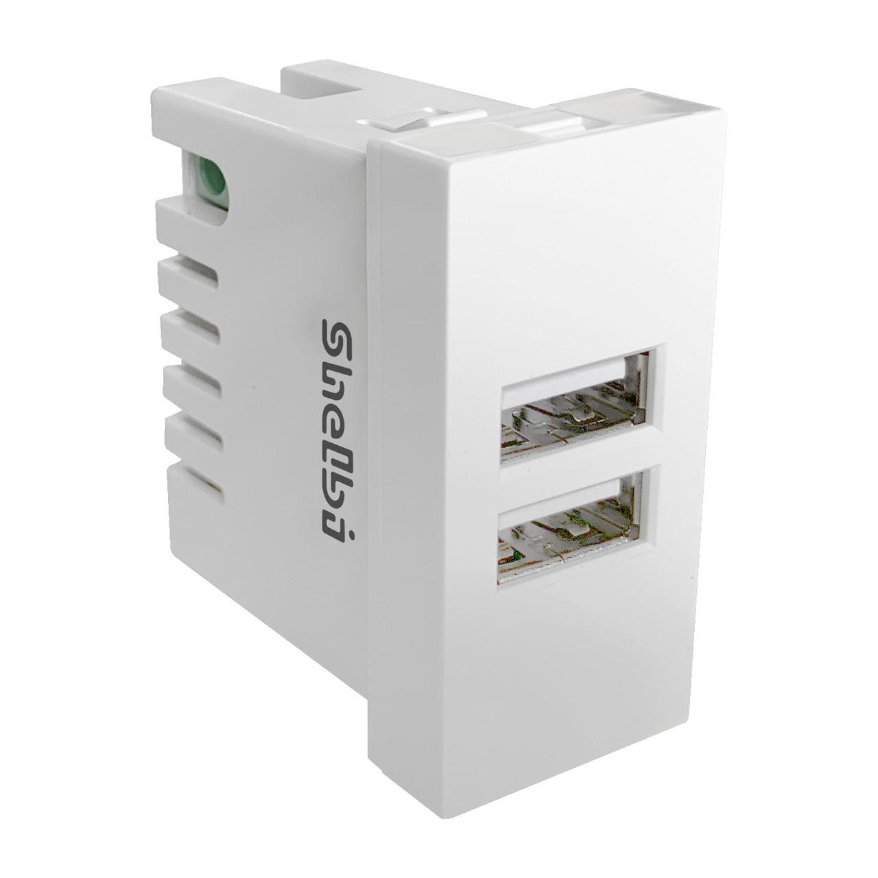 Shelbi 2-портовая USB Розетка зарядка 45х22.5, белая