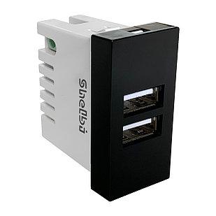 Shelbi 2-портовая USB Розетка зарядка 45х22.5, чёрная