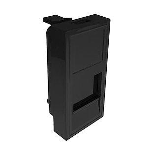 Shelbi Лицевая панель со шторкой 45x22.5mm 1 порт, чёрная