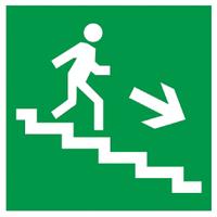 """Самоклеящаяся этикетка 50х50мм """"Направление к эвакуационному выходу (по лестнице направо вниз)"""" IEK"""