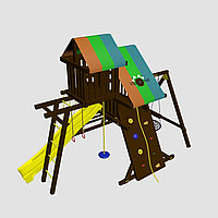 """Игровой комплекс """"Гуа"""", с крышей, лестницей, горкой, качелями, гимнастическими кольцами."""