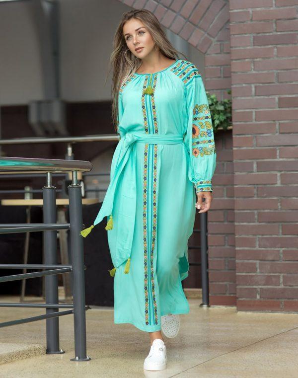 Платье Борщівські барви Д-88-3 поплин бирюза - фото 1