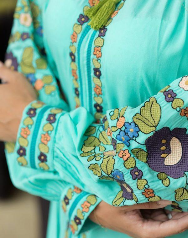 Платье Борщівські барви Д-88-3 поплин бирюза - фото 3