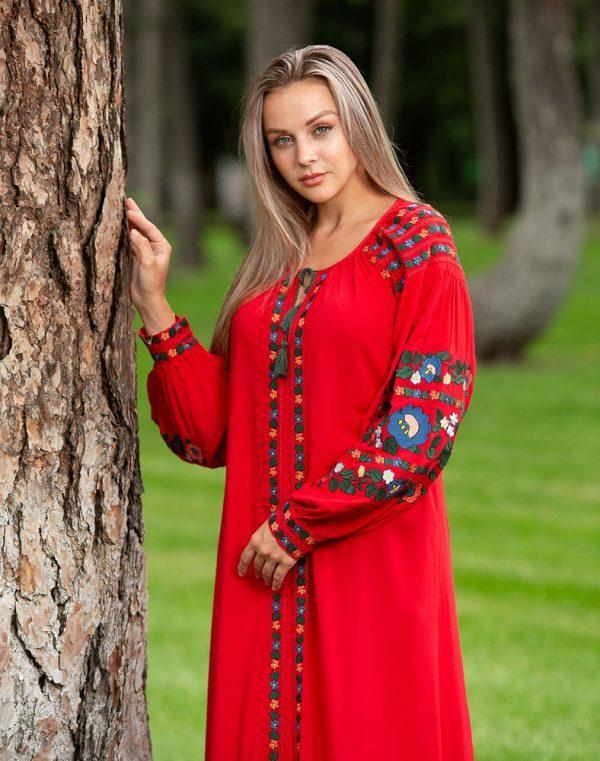 Платье Борщівські барви Д-88-3 поплин красный - фото 2