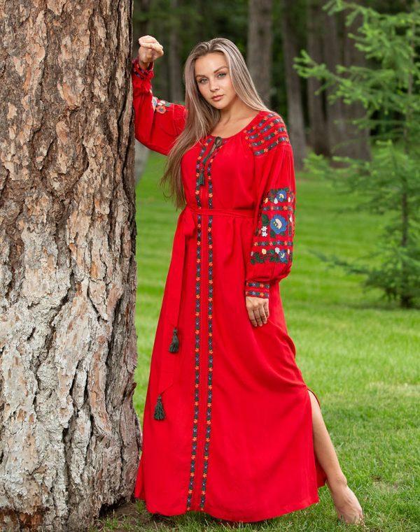 Платье Борщівські барви Д-88-3 поплин красный - фото 1