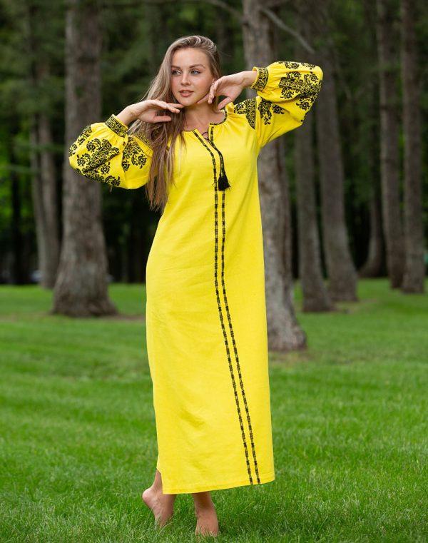 Платье Лілея Д-88-3 лён желтый - фото 1