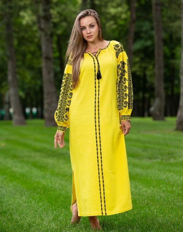 Платье Лілея Д-88-3 лён желтый - фото 2
