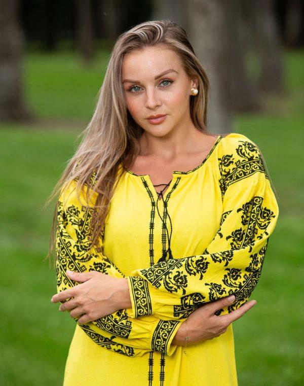 Платье Лілея Д-88-3 лён желтый - фото 3