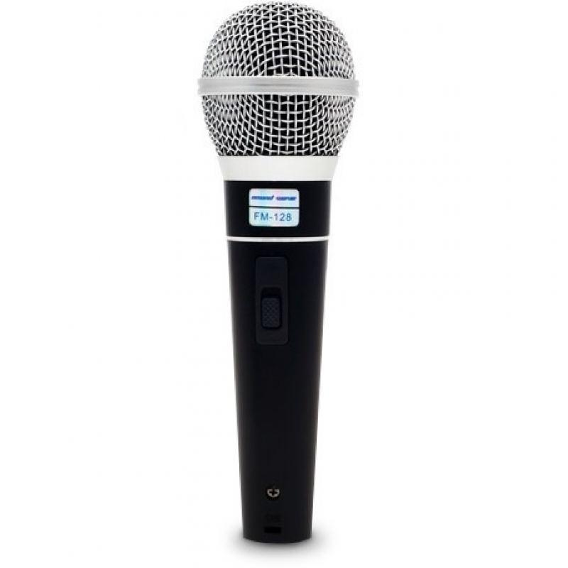 Микрофон, Sound Wave, FM-128, Проводной, Переключатель Вкл./Выкл., Jack 6,3 мм, Чёрно-Серебристый