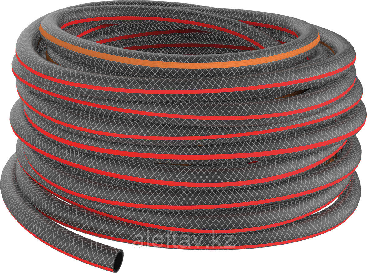 """Шланг поливочный """"Дачник"""" армированный трёхслойный черный с оранжевой полосой 3/4 дюйма или 18 мм,25м."""