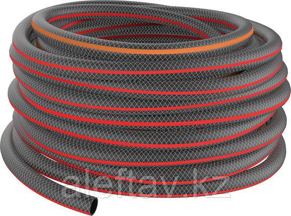 """Шланг поливочный """"Дачник"""" армированный трёхслойный черный с оранжевой полосой 3/4 дюйма или 18 мм,25м., фото 2"""