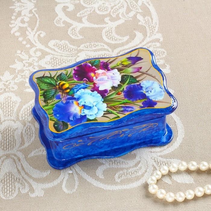 Шкатулка «Летний сад», синяя, 8×11,5 см, лаковая миниатюра