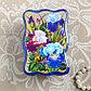 Шкатулка «Летний сад», синяя, 8×11,5 см, лаковая миниатюра, фото 2