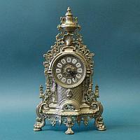 Бронзовые каминные часы с электронным механизмом