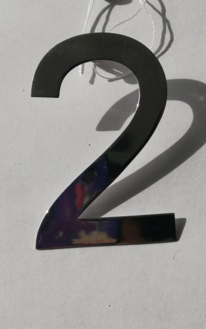 """Серебряная моносерьга """"2"""" пусеты (гвоздик) из коллекции """"Нумерология"""". Вес: 4,7 гр, покрытие родий"""