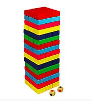 Настольная игра Дженга (падающая башня) деревянная, цветная