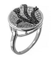 Серебряное кольцо с цветком из фианитов. Вставка: белые и черный фианиты, вес: 6,2 гр, размер: 16, п