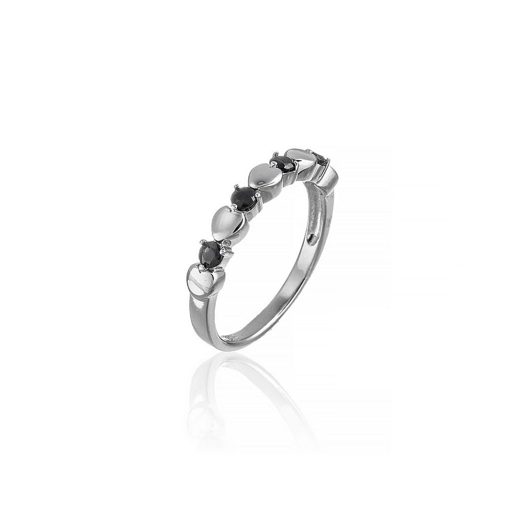Серебряное кольцо с сапфиром и сердцем. Вес: 2,3 гр, размер: 18, покрытие родий
