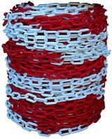 Цепь пластиковая красно белая 8 мм
