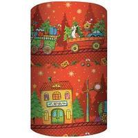 Non-branded Упаковочная бумага супергладкая, легкомелованная, Новогодний паровоз, 70*150 см, на красном фоне.
