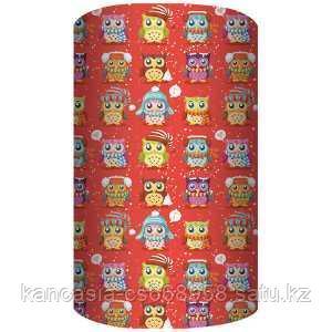 Non-branded Упаковочная бумага супергладкая, легкомелованная, Совы, 70*150 см, на красном фоне.