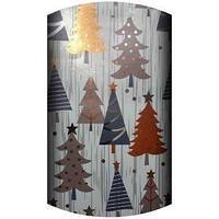 Non-branded Упаковочная металлизированная бумага с лазерной печатью, Украшенные ели со звездой, 70 х 150 см.