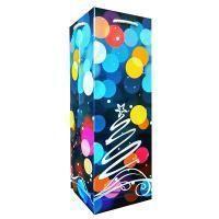 Non-branded Пакет бумажный бутылочный, Новогоднее настроение, размер 12 x 36 x 12 см.